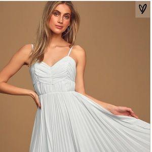 Lulus light blue pleated dress
